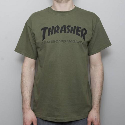Triko Thrasher Skate Mag army green