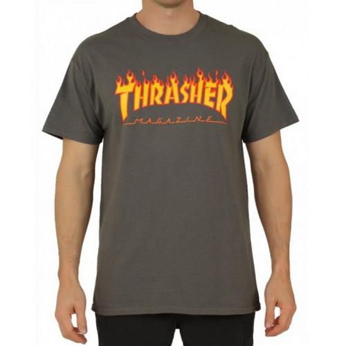 Triko Thrasher Flame Logo charcoal gray