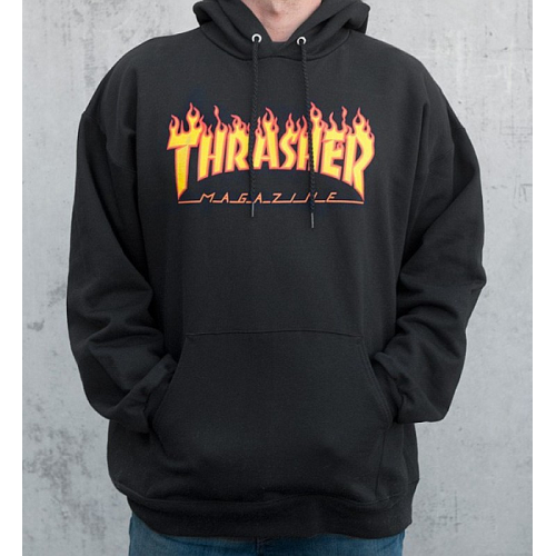 Mikina Thrasher Flame Hood black